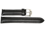 22MM BLACK PADDED STITCHED SYNTHETIC FAUX LEATHER FASHION WATCH BAND STRAP