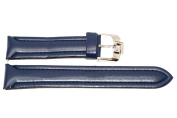 22MM BLUE PADDED STITCHED SYNTHETIC FAUX LEATHER ANTI ALLERGY WATCH BAND STRAP