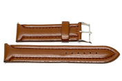 24MM BROWN PADDED STITCHED SYNTHETIC FAUX LEATHER FASHION WATCH BAND STRAP