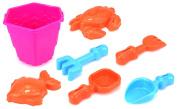 Sea Creatures Bucket Children's Kid's Toy Beach Sandbox Sand Playset w/ Bucket, Sand Moulds, Hand Tools