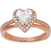 Believe by Brilliance Heart Shape Cubic Zirconia Pink Gold Plating over Sterling Silver Engagement Ring, Size 7