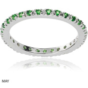 Alexandria Collection Women's CZ Sterling Eternity Anniversary Ring, Green