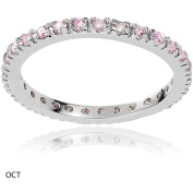 Alexandria Collection Women's CZ Sterling Eternity Anniversary Ring, Pink