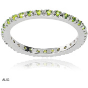 Alexandria Collection Women's CZ Sterling Eternity Anniversary Ring, Light Green