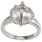 Faux Pearl and Pave CZ Sterling Silver Rhodium Finish Anniversary Ring