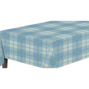 Ottomanson Vinly Blue Plaid Design Indoor and Outdoor Non-Woven Backing Tablecloth