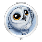 Vanity Mirror, Natural Light Personlized Pocket Makeup Mirror Double Sides with 2x Magnification and 1 True View Mirror Perfect for Travel - Art Owl