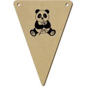 5 x 140mm 'Panda Eating' Wooden Bunting Flags