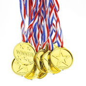 Biging 12 Pieces Children's Gold Winners Plastic Medals Kids Party Game Toys Prizes Awards