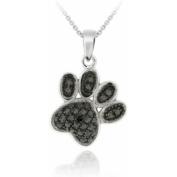 Black Diamond Accent Silver-Tone Paw Necklace