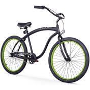 70cm Firmstrong Bruiser Man Three Speed Beach Cruiser Men's Bicycle, Matte Black w/ Green Rims