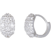 Angelique Silver CZ 18kt White Gold over Sterling Silver Oval Huggie Earrings