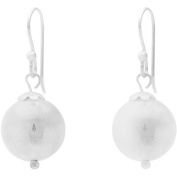Angelique Silver 18kt White Gold over Sterling Silver 14mm Resin Filled Earrings