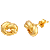 Angelique Silver 18kt Gold Love Knot Post Back Earrings