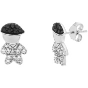 Angelique Silver Black and White CZ 18kt White Gold over Sterling Silver Boy Design Earrings