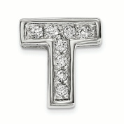 Sterling Silver Rhodium plated CZ Letter T Slide Charm