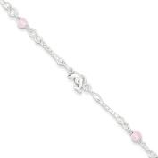 Sterling Silver & Pink Stone Polished Dolphin Children's Bracelet