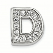 Sterling Silver Rhodium plated CZ Letter D Slide Charm