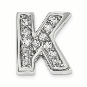 Sterling Silver Rhodium plated CZ Letter K Slide Charm