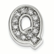 Sterling Silver Rhodium plated CZ Letter Q Slide Charm
