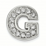Sterling Silver Rhodium plated CZ Letter G Slide Charm