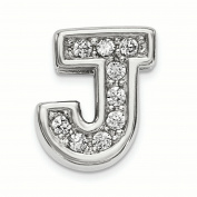 Sterling Silver Rhodium plated CZ Letter J Slide Charm