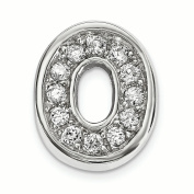 Sterling Silver Rhodium plated CZ Letter O Slide Charm