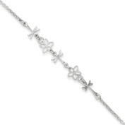 Sterling Silver Polished Dragonfly and Flower Baby Bracelet