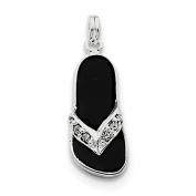 Sterling Silver Black Enamelled CZ Flip Flop Charm