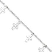 Sterling Silver & CZ Polished Cross Children's Bracelet