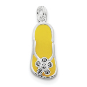 Sterling Silver Enamelled and CZ Flip Flop Charm