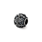 Antiqued Artisan Textured Design Charm in Sterling Silver