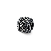 Antiqued Artisan Circle Rope Design Charm in Sterling Silver