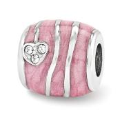 Pink Enamelled Elements Heart Barrel Charm in Sterling Silver