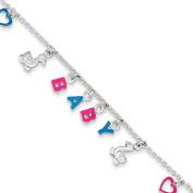Sterling Silver Adjustable Enamelled Baby Charm Bracelet