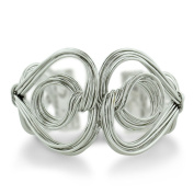 Beautifully Crafted Twisted Solid Wire Double Heart And Circle 3.8cm Wide Cuff Bracelet, Fits 6.5 To 20cm Wrist