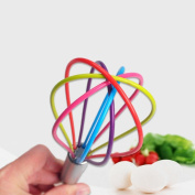 Culater® New Colourful Rainbow Silicone Whisk Non-Stick Egg Whisk Kitchen Cooking Tool