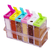 Tianxun 6 Piece Spice Jar Colourful Seasoning Box Kitchen Condiment Storage Container with Tray