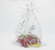 iBUY365 50Pcs Organza Drawstring Pouches Party Wedding White with Silver Gift Bags 15cm x 20cm By iBUY365