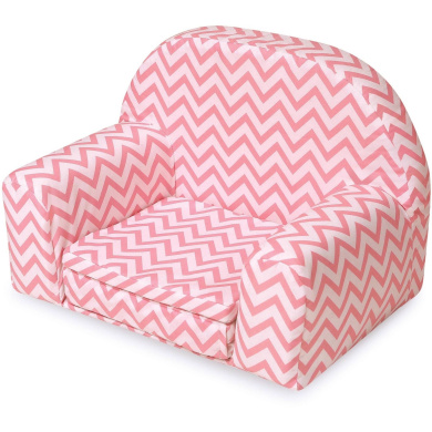 Badger Basket Upholstered Doll Chair with Foldout Bed, Pink Chevron, Fits Most 46cm Dolls and My Life As