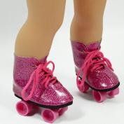 Pink Glitter Roller Skates for 46cm Dolls