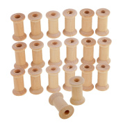 MonkeyJack 20 Pieces Unfinished Wooden Spools Thread Bobbins Cord Wire Coils Sewing Notions 27mmX16mm