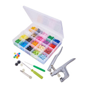 Pandahall Elite 300 Sets 20-Colour T5 Resin Snap Button Pliers Press Plastic Snap No-Sew Buttons with Fastener Kit Hand-held Tools in Storage Case