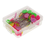 """MonkeyJack 80 Pieces 4.5cm 1.77"""" Straight Head Pins Decorative Safety Pins Sewing Pins For Sewing DIY Arts & Crafts Quilting Tools Boxed - 1, as described"""