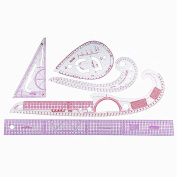 RZDEAL 5 Style Plastic Fashion Ruler Set Vary Form Triangle Curve Button 55cm Graded Sewing Set