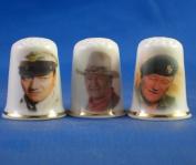 Porcelain China Collectable Thimbles - Set of Three John Wayne Films