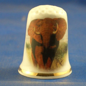 Porcelain China Collectable Thimble -- African Elephant with Free Gift Box