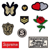 9PCs Mixed Patches For Clothing Iron On Embroidered Appliques DIY Apparel Accessories Patches For Clothing Fabric Badges