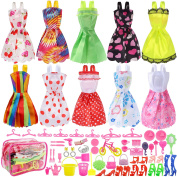 Total 66pcs - 10 Pack Doll Clothes Party Gown Outfits+ 55pcs Dolls Accessories Shoes Bags Necklace Mirror Hanger Tableware