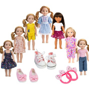 7PCS doll Clothes and 2pcs shoes fits 36cm 37cm doll American Girl Wellie Wishers or Hearts for Hearts